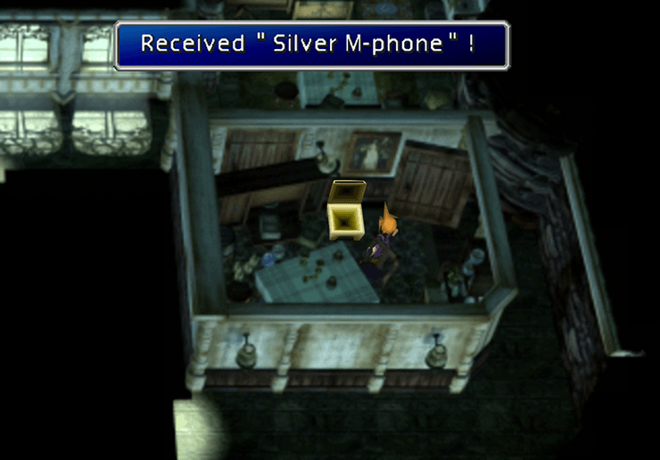 Picking up the Silver M-phone in the Shinra Mansion