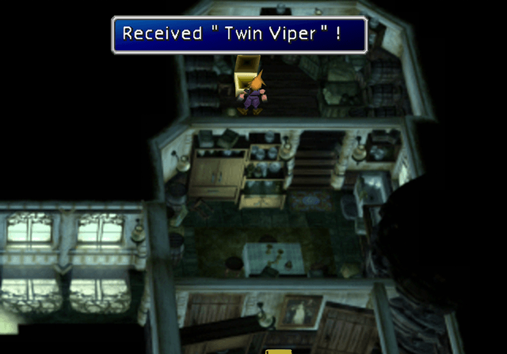 Picking up the Twin Viper in the Shinra Mansion