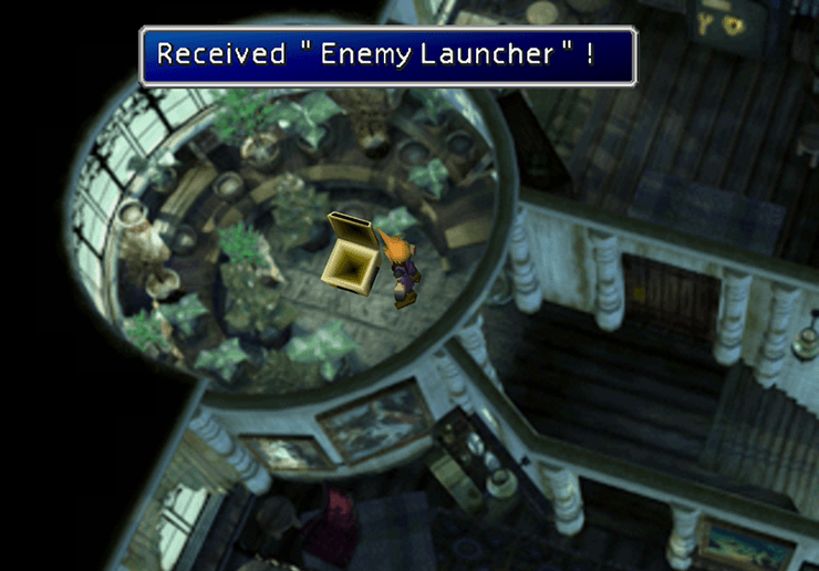 Picking up the Enemy Launcher in the Shinra Mansion
