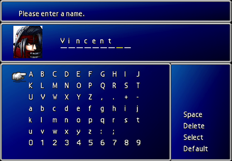 Vincent Naming Screen