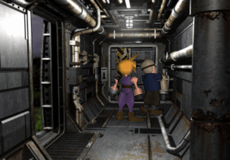 Cloud first approaching Cid in the Shinra Rocket