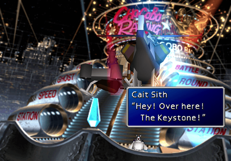 Chocobo Square with Cait Sith giving away the Keystone