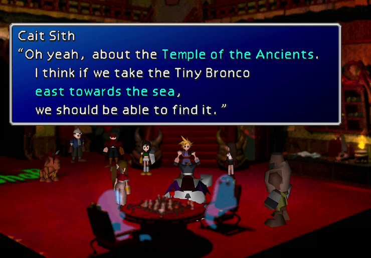 Aeris joining Cloud for the trip to the Temple of the Ancients