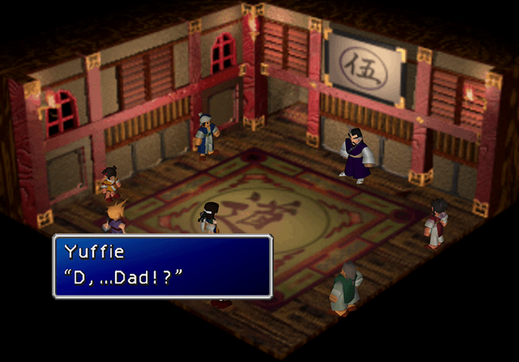Yuffie meeting her father, Godo, on the top floor of the Pagoda
