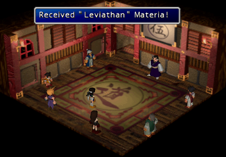 Godo giving Yuffie the Leviathan Summon Materia