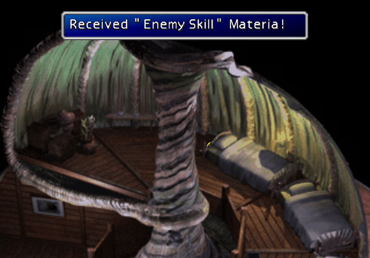 The hidden Enemy Skill Materia behind the bed
