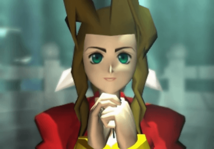 Aeris looking up at Cloud during the death scene
