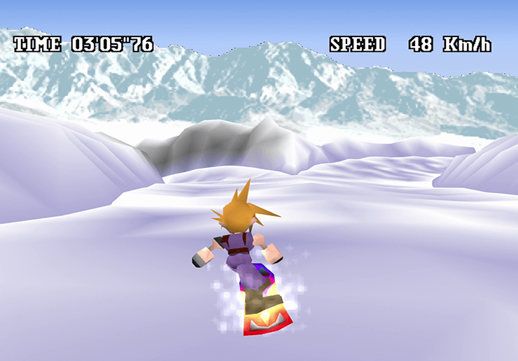 A split path during the snowboard mini-game