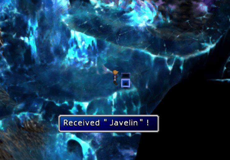 Picking up the Javelin in Gaea's Cliff