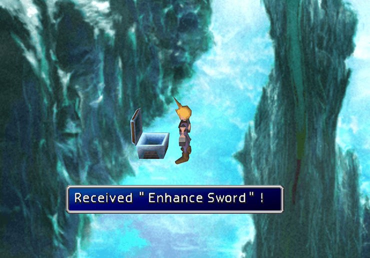 Picking up the Enhance Sword in Gaeas Cliff