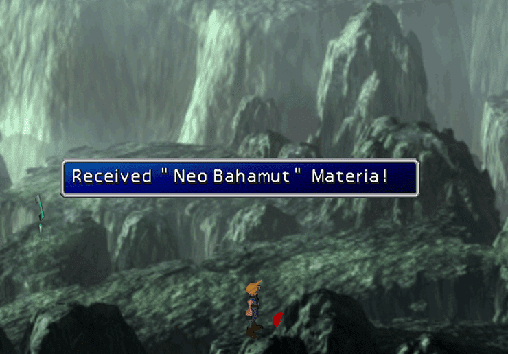 Picking up the Neo Bahamut Summon Materia near the Save Point
