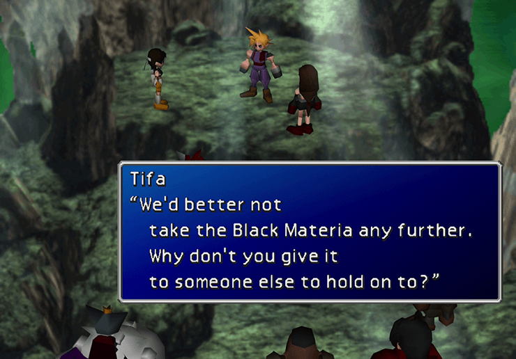 Tifa telling Cloud to give the Black Materia to a team member