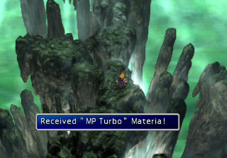 Picking up the yellow MP Turbo Materia in the Whirlwind Maze