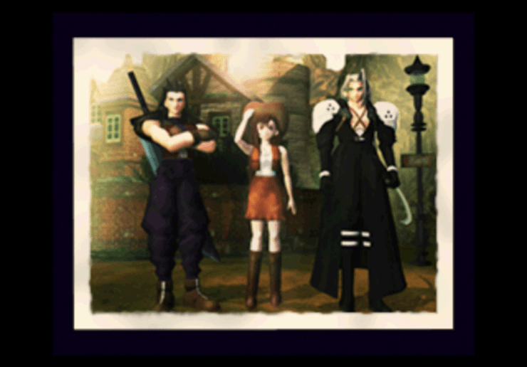 Photograph in Nibelheim of Sephiroth, Tifa and someone who looks like Cloud (Zack)