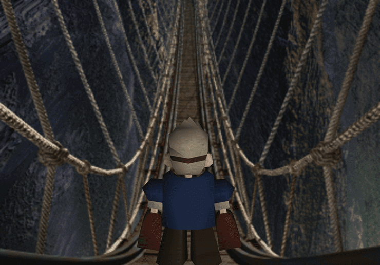 Cid crossing the rope bridge in Mount Corel