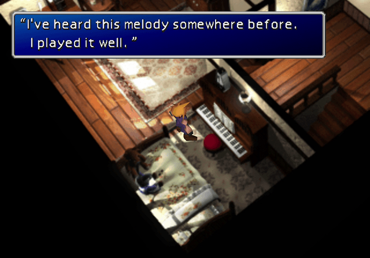 Tifa near her piano in Nibelheim