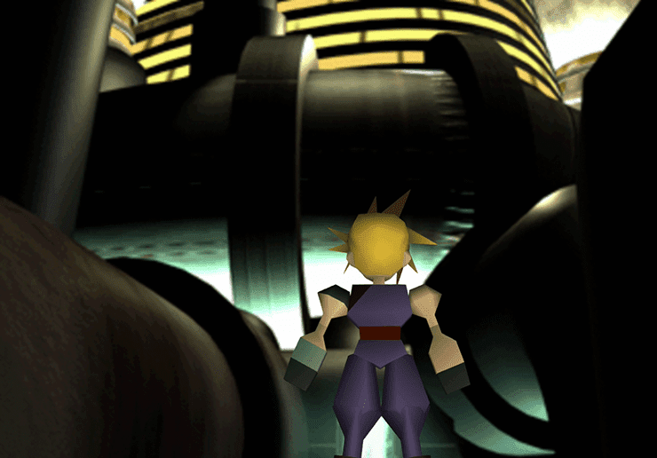Cloud approaching the Shinra Building