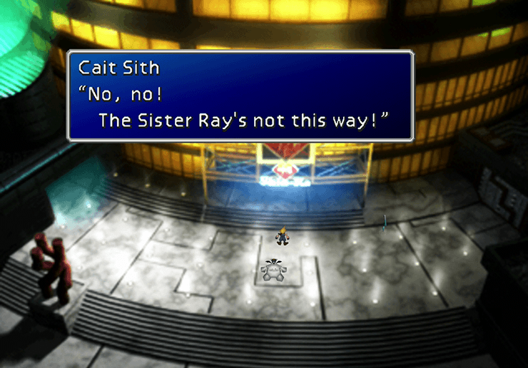 Cait Sith coming out of the Shinra Building