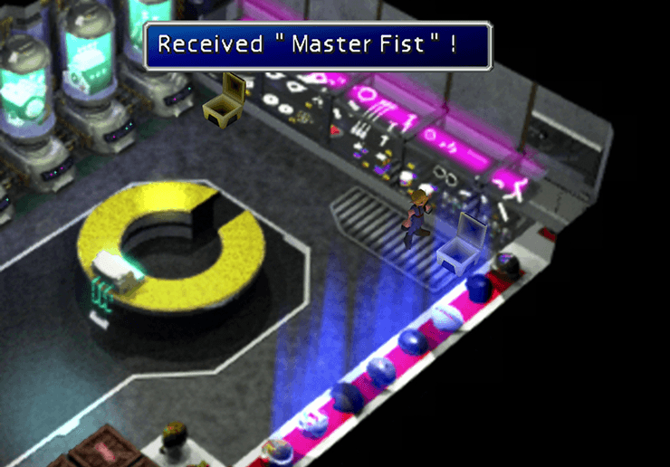 Picking up the items in the Shinra Building Shop (Master Fist)