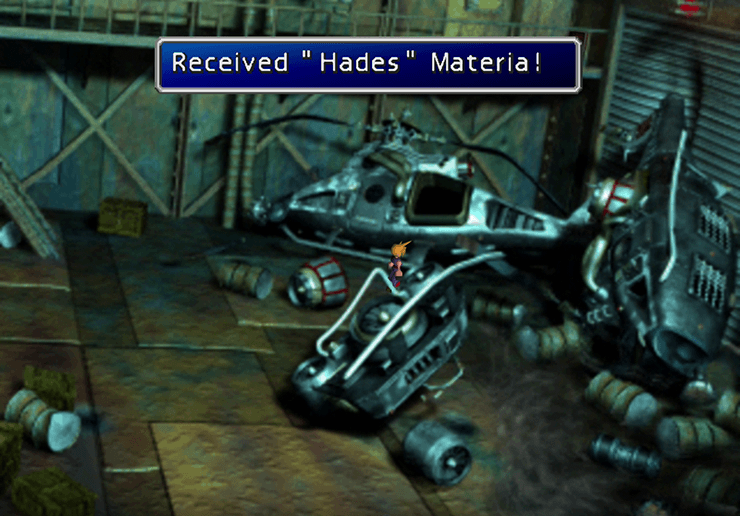 Picking up the Hades Materia in the Sunken Gelnika