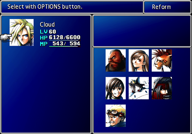 Party select Screen