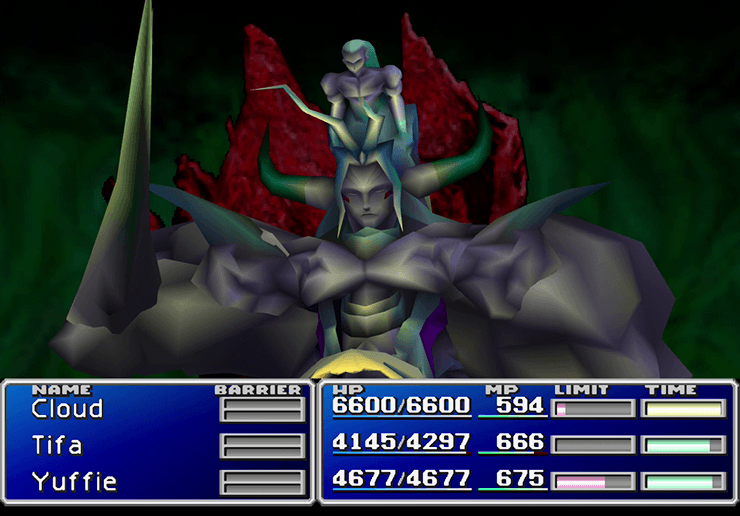 Boss Battle against Bizarro Sephiroth with the option to change parties