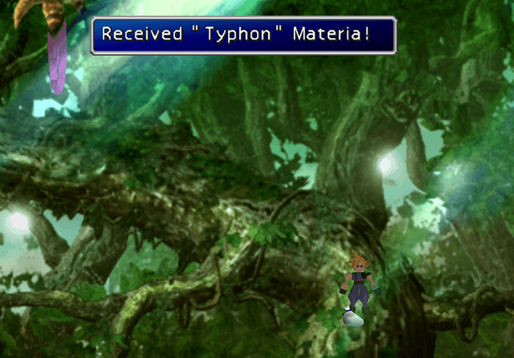 Picking up the Typoon Summon Materia
