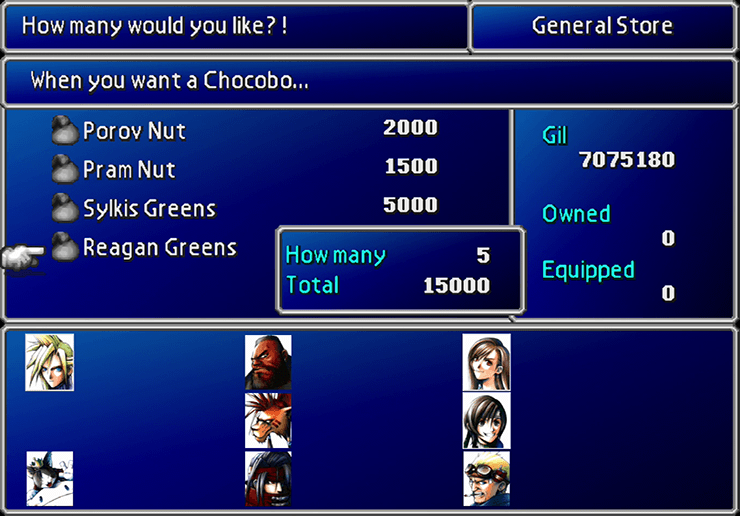 Buying Sylkis Greens from the Chocobo Sage