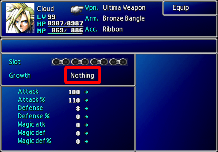 ff7 ultimate weapons no growth