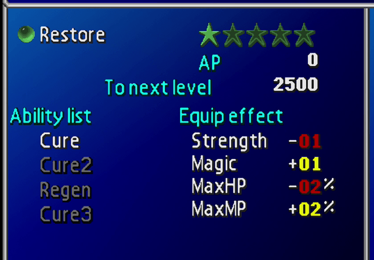 Restore Materia growth menu screen