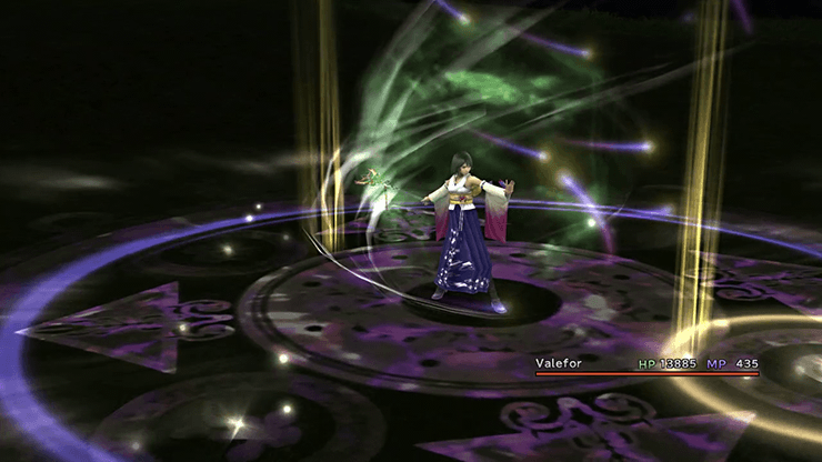 Yuna initiating the summonoing of Valefor