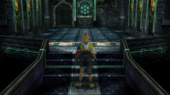 Tidus at the entrance to the Zanarkand Cloister of Trials