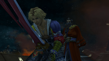 Auron handing Tidus his sword