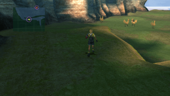 Chocobos in the background of the Calm Lands