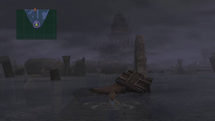 Tidus swimming through the ruins