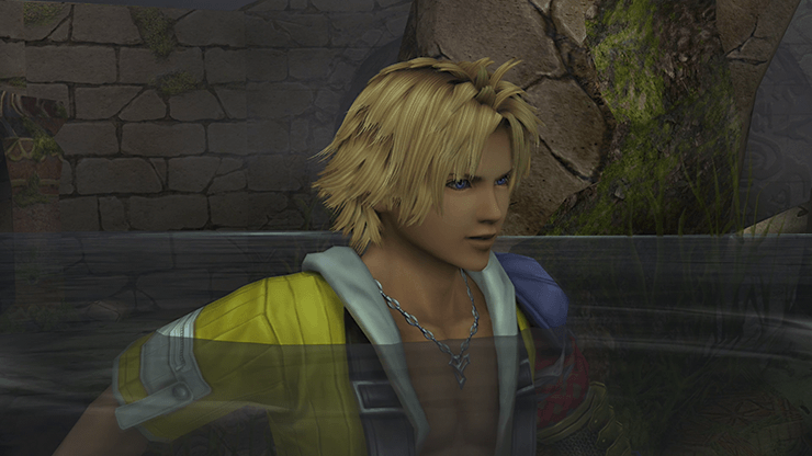 Tidus swimming in the water in the temple
