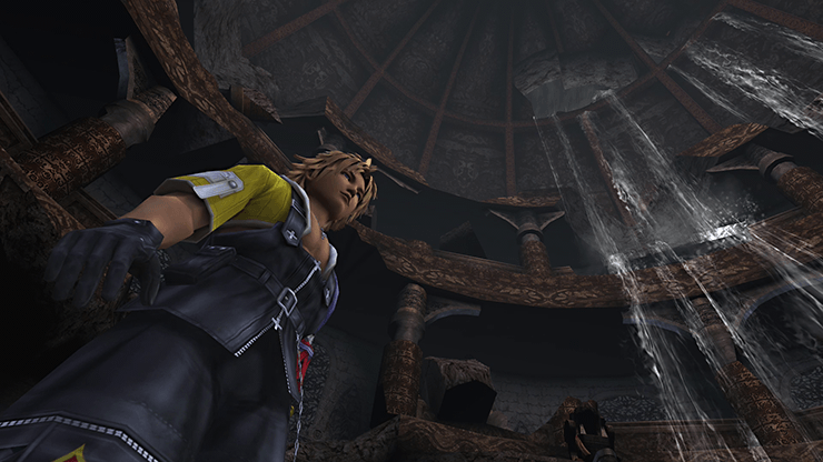 Tidus at the Save Sphere in the Ruins