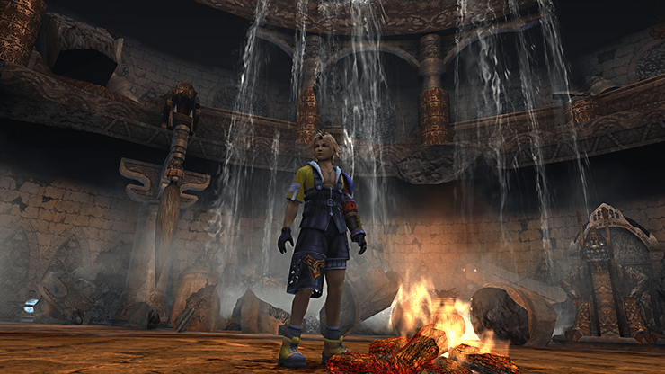 Tidus in the center of the ruins