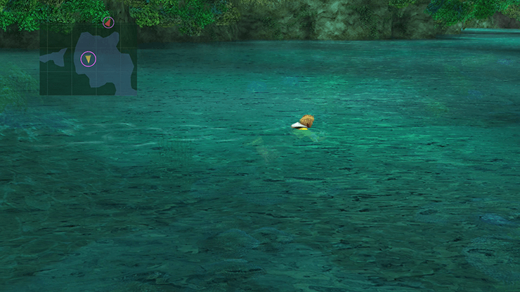 Wakka pushing Tidus into the water