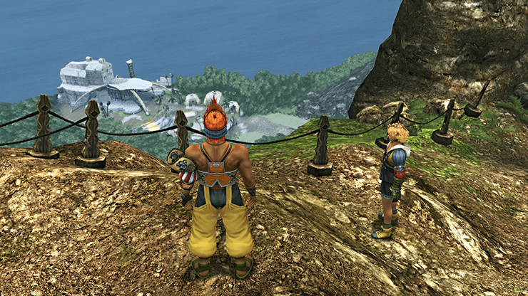 Tidus and Wakka heading to Besaid Village