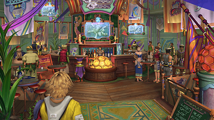 Tidus and Yuna in the pub