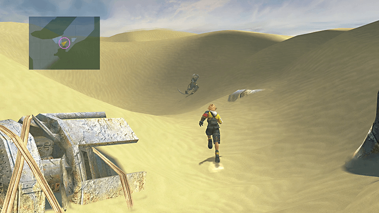 Tidus finding Kimahri attempting to climb a sand hill