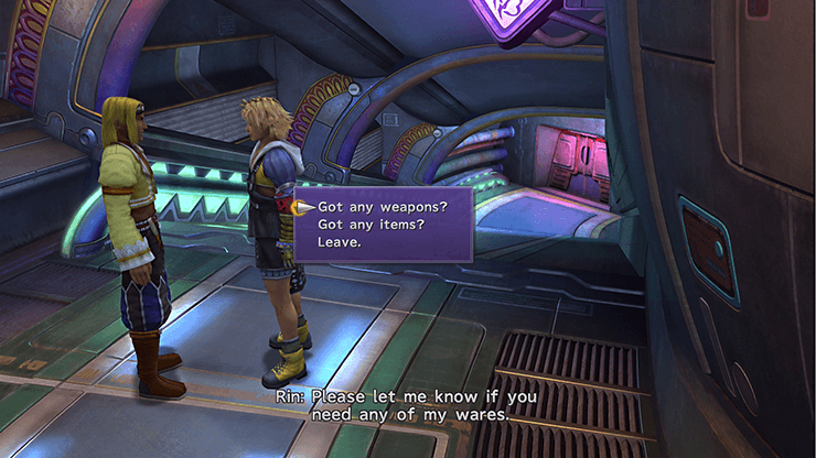 Tidus speaking with Rin on the Airship