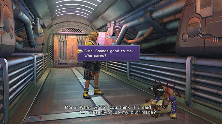 Tidus speaking with Dona on the Airship