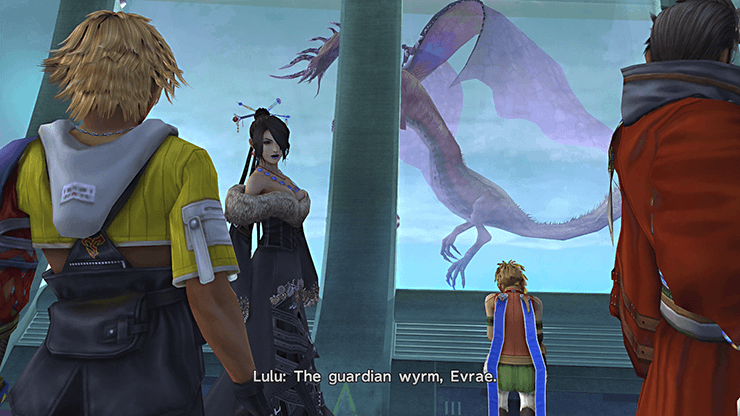 Tidus, Lulu, Rikku and Auron looking at Evrae from onboard the Airship