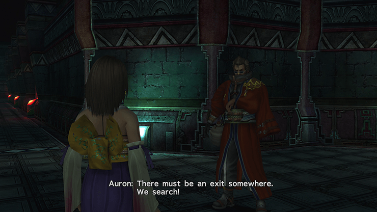 Yuna finding Auron in the Via Purifico