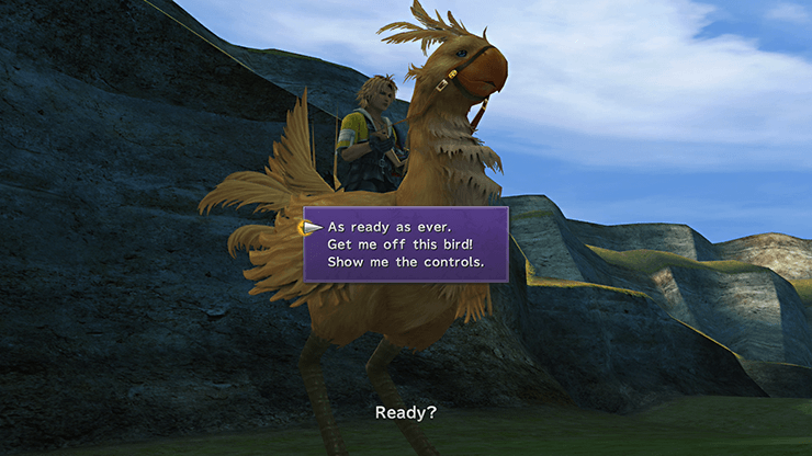 Tidus riding a Chocobo in the Calm Lands