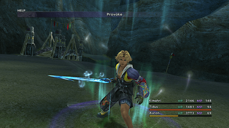 Tidus using Provoke on Defender X