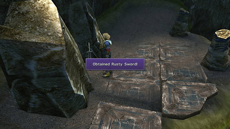 Tidus picking up the Rusty Sword