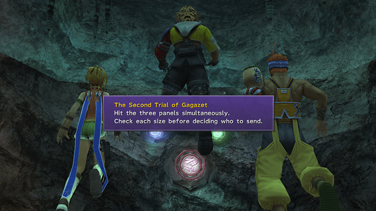 Tidus, Rikku and Wakka completing the Second Trial of Gagazet